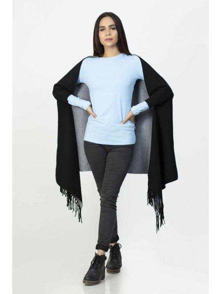 Bonanza Luxury Sweater Black-Jacquard-Shawl 19S-003-61-BLACK
