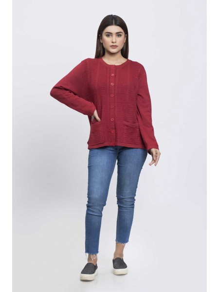 Bonanza Luxury Sweater Cherry-Full Sleeves-Cardigan 19S-090-61-CHERRY