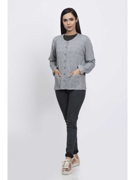 Bonanza Luxury Sweater Grey-Full Sleeves-Cardigan 19S-091-61-GREY