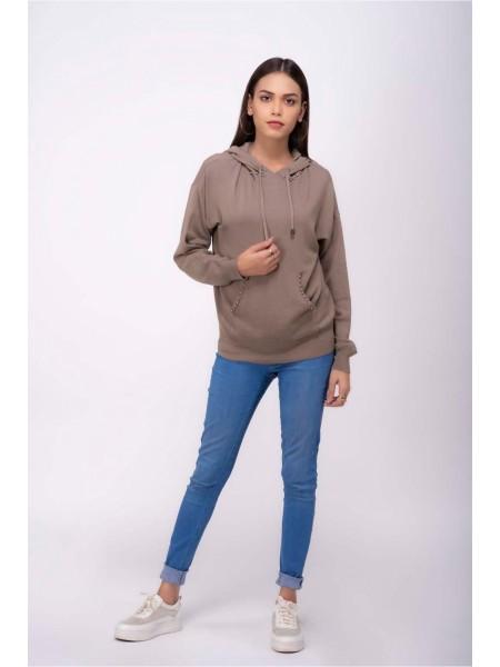 Bonanza Luxury Sweater Khaki-Full Sleeves-Hoodie 19S-015-61-KHAKI