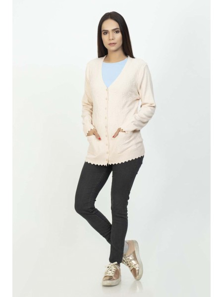 Bonanza Luxury Sweater L-Peach-Full Sleeves-Cardigan 19S-114-61-L-PEACH