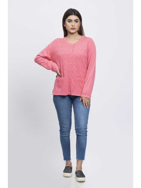Bonanza Luxury Sweater Pink-Full Sleeves-Cardigan 19S-091-61-PINK