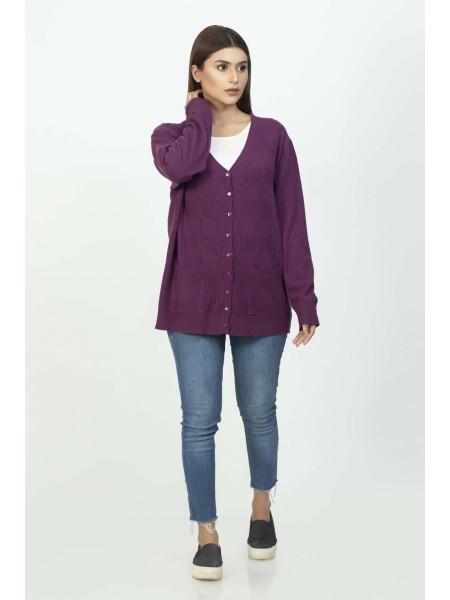 Bonanza Luxury Sweater R-Purple-Full Sleeves-Cardigan 19S-108-61-R-PURPLE