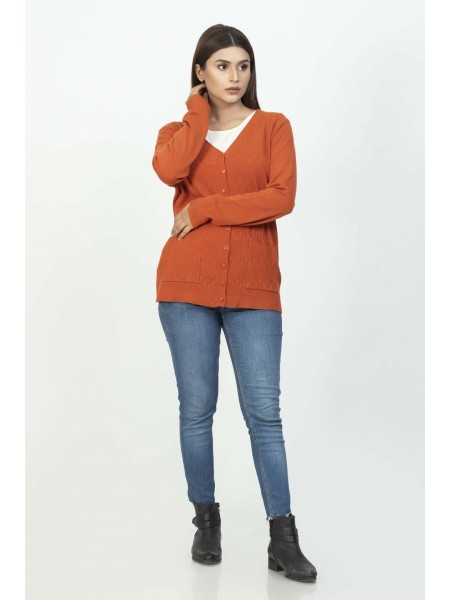 Bonanza Luxury Sweater Rust-Full Sleeves-Cardigan 19S-112-61-RUST