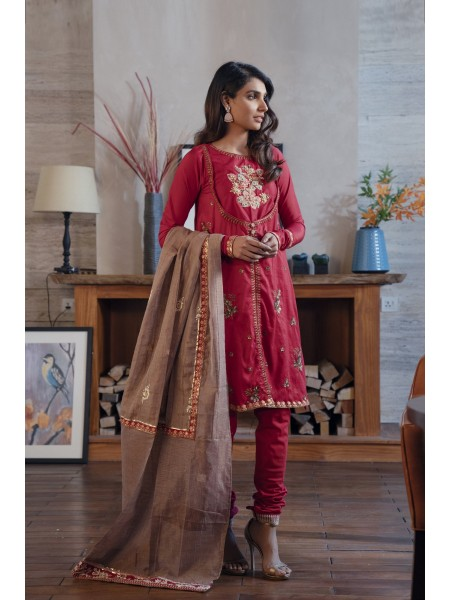 Ethnic by Outfitters Table For Two Collection Boutique Suits Shirt + Dupatta WTB491790-10232744-K-07