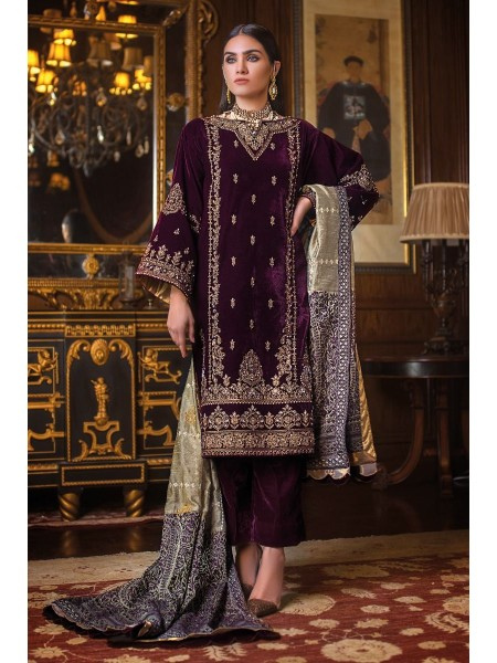 Gul Ahmed 3PC Hand Embroidered Velvet Suit VLW-11 W-FB-NSM-19-226139