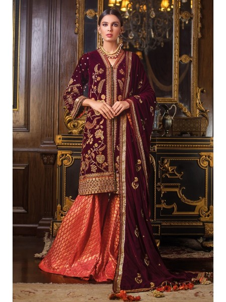 Gul Ahmed 3PC Hand Embroidered Velvet Suit VLW-12 W-FB-NSM-19-226128