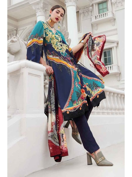 Gul Ahmed Lamis Silk Collection 2PC Embroidered Silk Suit DGT-81 W-FB-LMS-19-226114