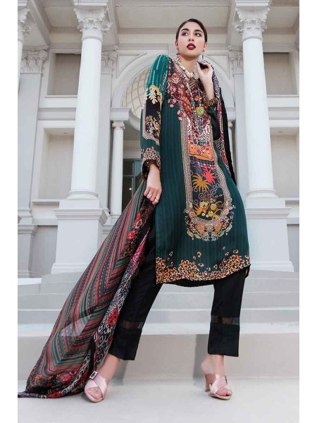 Gul Ahmed Lamis Silk Collection 2PC Embroidered Silk Suit DGT-83 W-FB-LMS-19-226116