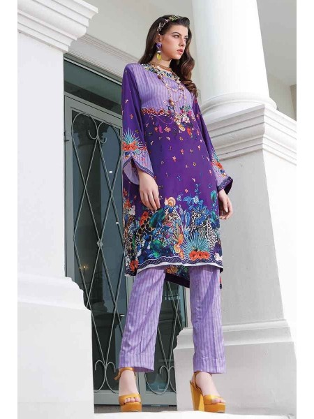 Gul Ahmed Lamis Silk Collection 2PC Embroidered Silk Suit DGT-89 W-FB-LMS-19-226122