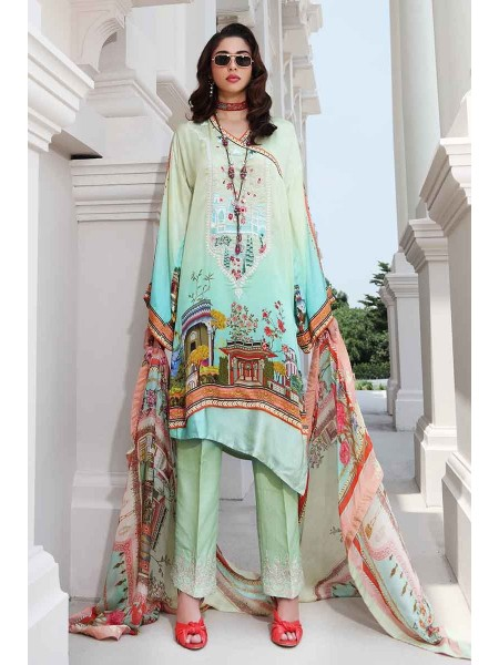 Gul Ahmed Lamis Silk Collection 3PC Embroidered Silk Suit DGS-80 W-FB-LMS-19-226107
