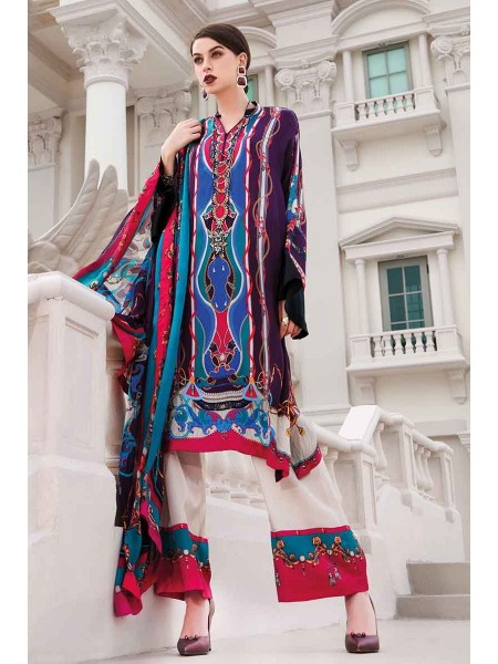 Gul Ahmed Lamis Silk Collection 3PC Embroidered Silk Suit DGS-85 W-FB-LMS-19-226112