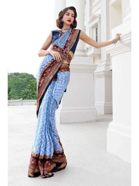 Gul Ahmed Lamis Silk Collection DSR-02 Digital Printed Viscose Saree W-FB-LMS-19-226395