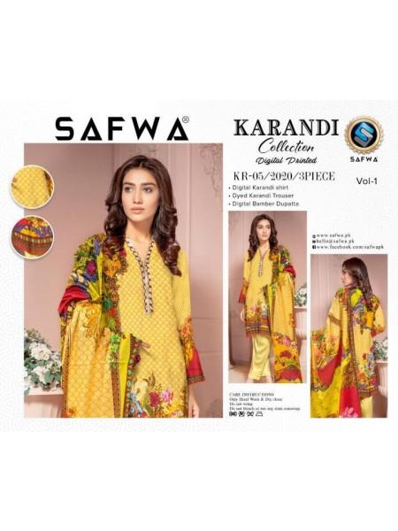 KRR05 - SAFWA DIGITAL KARANDI 3 PIECE COLLECTION-VOL 01 2020 -SHIRT| TROUSER| DUPATTA