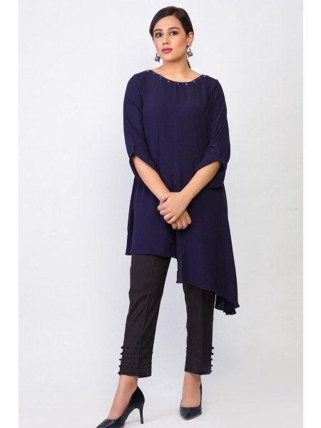 Zeen Woman Merak Winter Pret 1 PC Stitched Shirt - Cotton Crepe WA194023-Navy