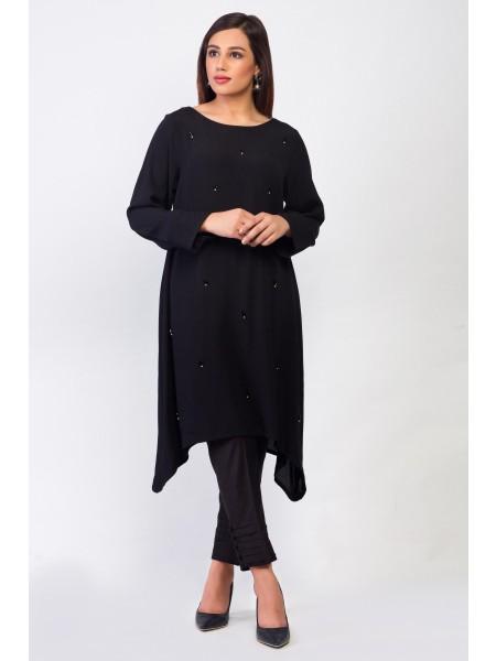 Zeen Woman Merak Winter Pret 1 PC Stitched Shirt - Cotton Crepe WA194025-Black
