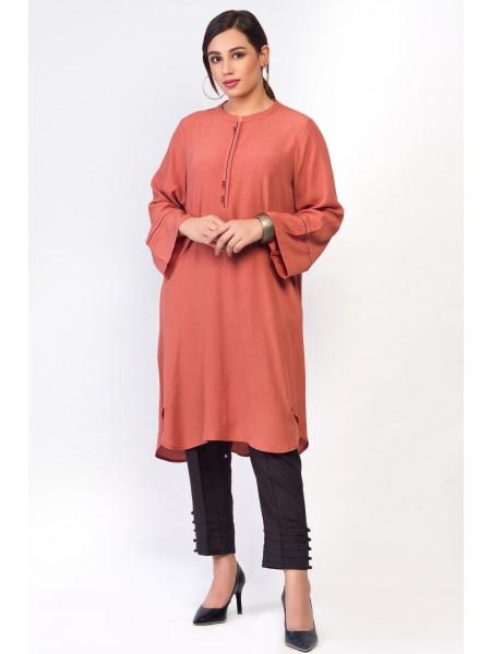 Zeen Woman Merak Winter Pret 1 PC Stitched Shirt - Cotton Crepe WA194026-Rust