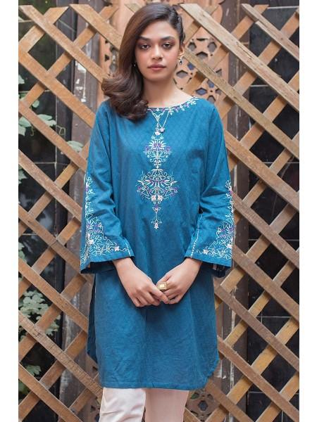 Zeen Woman Merak Winter Pret 1 PC Stitched Shirt - Self Jacquard WA194007-Teal
