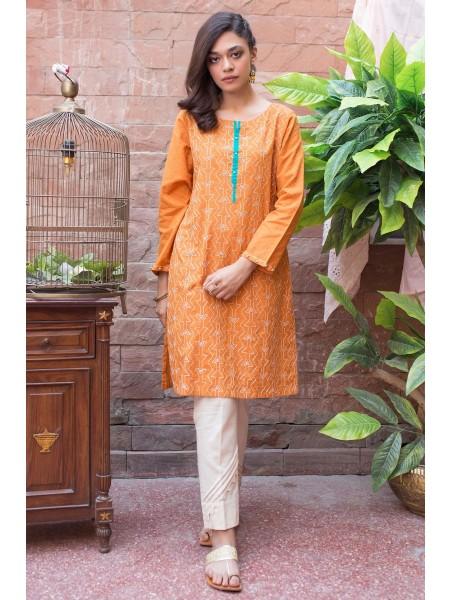 Zeen Woman Merak Winter Pret 1 PC Stitched Shirt - Self Jacquard WA194008-Mustard