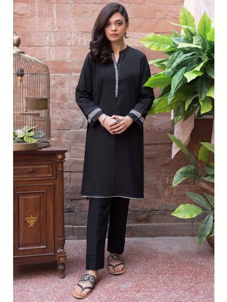 Zeen Woman Merak Winter Pret 1 PC Stitched Shirt - Self Jacquard WA194009-Black