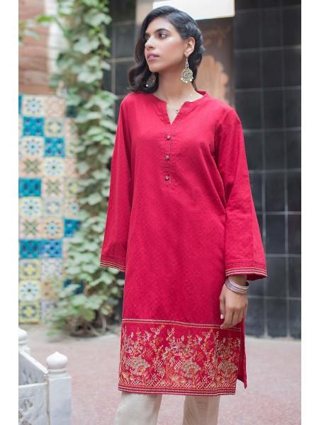 Zeen Woman Merak Winter Pret 1 PC Stitched Shirt - Self Jacquard WA194010-Maroon