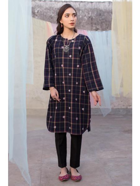 Zeen Woman Merak Winter Pret 1 PC Stitched Shirt - Yarn Dyed WA194033-Navy-Blue-Check