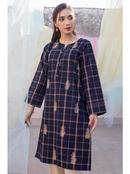 Zeen Woman Merak Winter Pret 1 PC Stitched Shirt - Yarn Dyed WA194034-Navy-Blue-Check