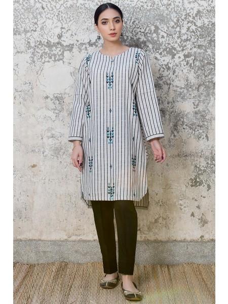 Zeen Woman Merak Winter Pret 1 PC Stitched Shirt - Yarn Dyed WA194050-White-Black