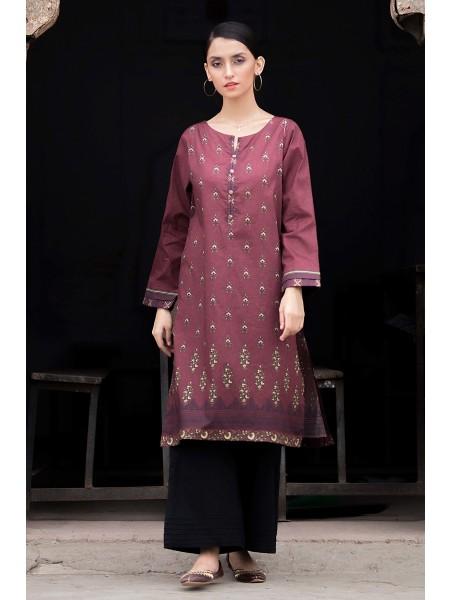 Zeen Woman Merak Winter Pret Stitch 1 Piece Digital Printed Cotton Satin WL195039-Red