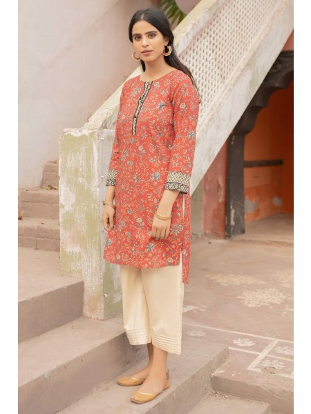 Zeen Woman Merak Winter Pret Stitch 1 Piece Printed Cambric WL195005-Red