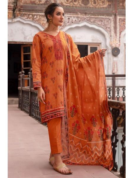 Zeen Woman Merak Winter Pret Stitch 2 Piece Printed Doria Linen Viscose WL295034-Fire