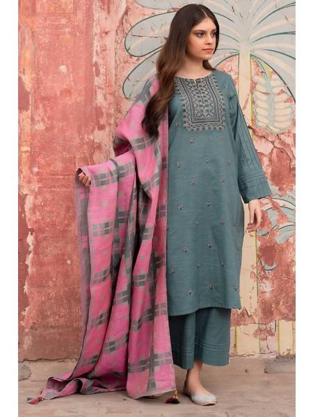 Zeen Woman Merak Winter Pret Stitch 3 Piece Dyed Khaddar & Yarn Dyed Jacquard WL395006-Blue