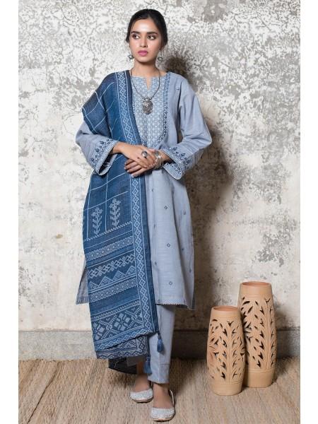 Zeen Woman Merak Winter Pret Stitch 3 Piece Dyed Khaddar & Yarn Dyed Jacquard WL395025-Grey