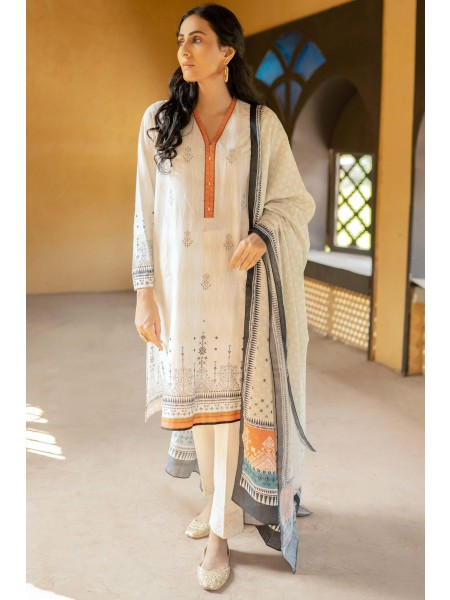 Zeen Woman Merak Winter Pret Stitch 3 Piece Embroidered Linen WL395022-Off-White