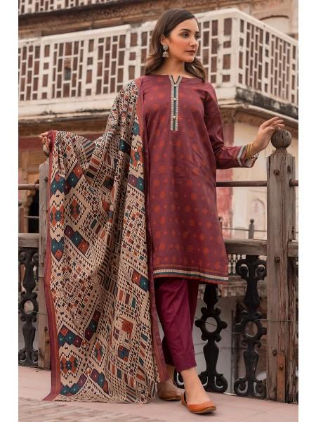 Zeen Woman Merak Winter Pret Stitch 3 Piece Printed Cambric WL395037-Berry