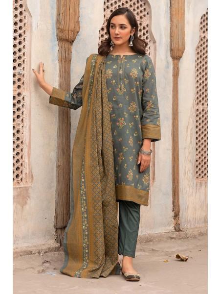 Zeen Woman Merak Winter Pret Stitch 3 Piece Printed Cambric WL395038-Grey