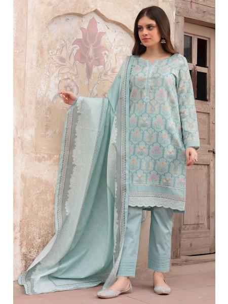 Zeen Woman Merak Winter Pret Stitch 3 Piece Printed Doria Linen Viscose WL395033-Cool-Blue