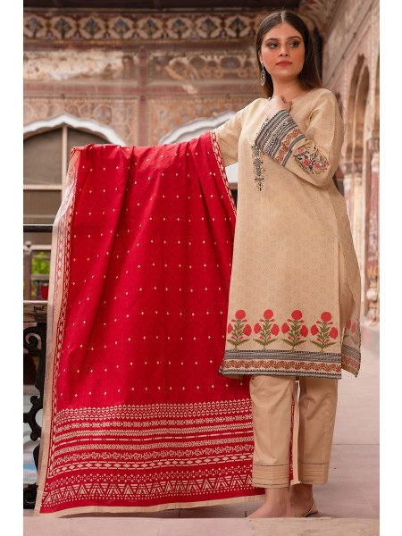 Zeen Woman Merak Winter Pret Stitch 3 Piece Printed Karandi WL395030-Beige