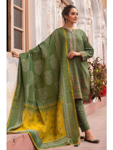 Zeen Woman Merak Winter Pret Stitch 3 Piece Printed Khaddar & Yarn Dyed Jacquard WL395026-Deep-Green