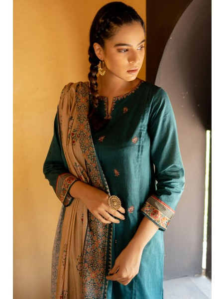 Zeen Woman Merak Winter Pret Stitch 3 Piece Printed Linen Viscose WL395023-Teal