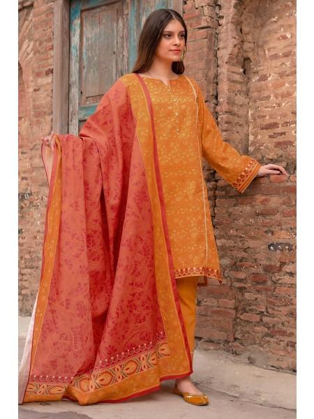 Zeen Woman Merak Winter Pret Stitch 3 Piece Printed Linen Viscose WL395040-Yellow