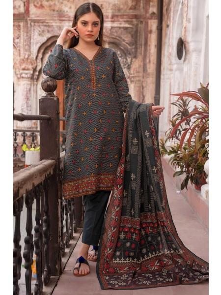 Zeen Woman Merak Winter Pret Stitch 3 Piece Printed Printed Karandi WL395029-Black