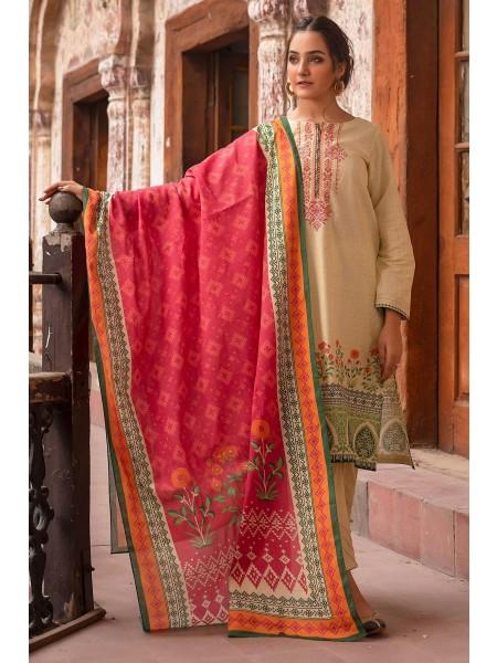 Zeen Woman Merak Winter Pret Stitch 3 Piece Printed Printed Khaddar & Cotton Net WL395027-Lime