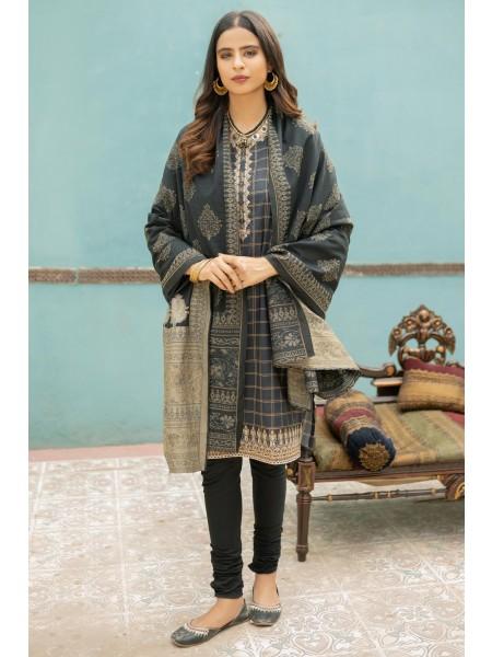Zeen Woman Merak Winter Pret Stitch 3 Piece Yarn Dyed & Weave Jacquard WL395048-Black