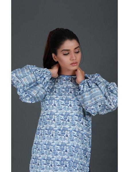 Zellbury Fabric By Meter Rock Blue - 1 piece - Cotton Satin shirt ZWROT19028