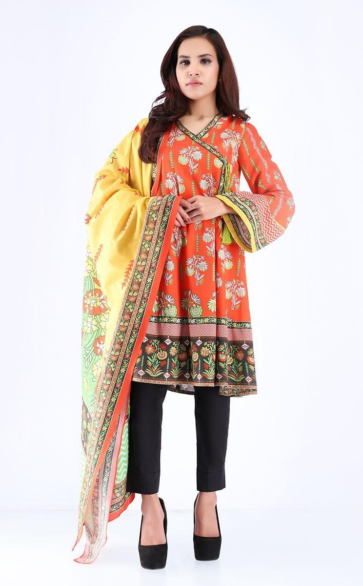 Zellbury Pre Spring Shirt Dupatta Flamingo Orange Cambric Suit Lawncollection Pk