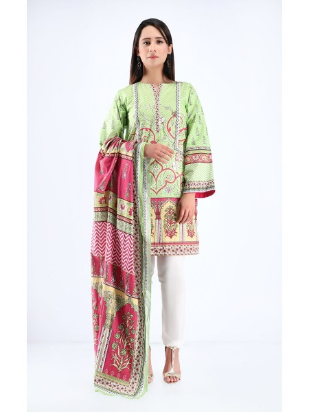 Zellbury Pre Spring Shirt Dupatta - Sprout Green - Cambric Suit ZWUIM220003