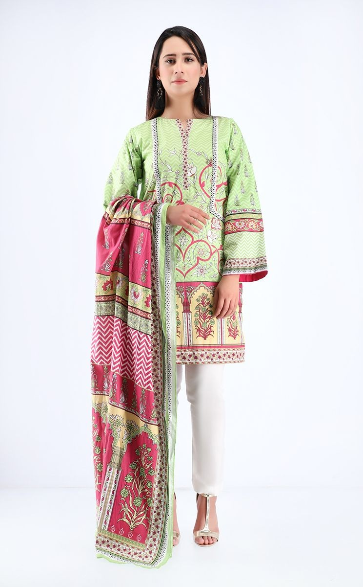 Zellbury Pre Spring Shirt Dupatta Sprout Green Cambric Suit Zwuim220003 Lawncollection Pk