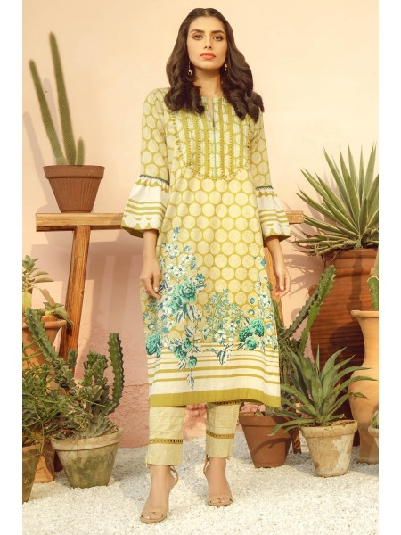 Alkaram Studio SS20 Collection 2 Piece Printed Lawn Suit With Printed Cambric Trouser SS-23-20-Lime Green