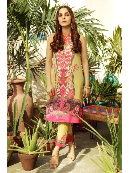 Alkaram Studio SS20 Collection 2 Piece Printed Suit With Dyed Cambric Trouser SS-24-20-Beige